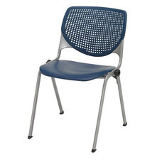 2300 KOOL Series Stacking Poly Armless Chair with Perforated Back and Silver Frame - Navy