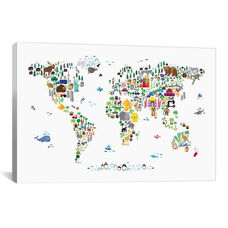 Animal Map of The World by Michael Tompsett Gallery Wrapped Canvas Artwork