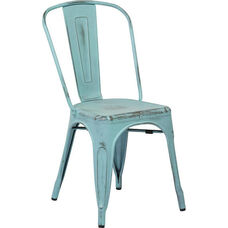OSP Designs Bristow Stackable Armless Metal Chair - Set of 2 - Antique Sky Blue