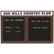 2 Door Outdoor Illuminated Enclosed Directory Board with Header and Bronze Anodized Aluminum Frame - 36