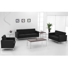 HERCULES Lacey Series Contemporary Black LeatherSoft Loveseat with Stainless Steel Frame