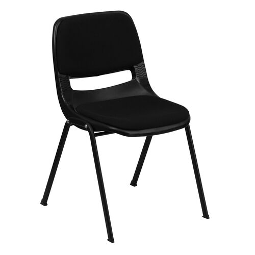 Our HERCULES Series 880 lb. Capacity Black Padded Ergonomic Shell Stack Chair with Black Frame is on sale now.