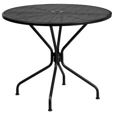 "Commercial Grade 35.25"" Round Black Indoor-Outdoor Steel Patio Table"