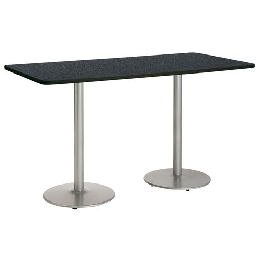 """Our 36""""W x 96""""D Rectangular Laminate Bistro Height Pedestal Table with Graphite Nebula Top - Silver Round Base is on sale now."""