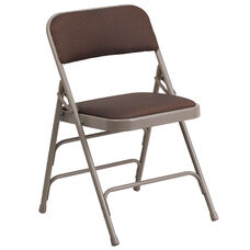 HERCULES Series Curved Triple Braced & Double Hinged Brown Patterned Fabric Metal Folding Chair