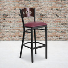 Black Decorative 3 Circle Back Metal Restaurant Barstool with Walnut Wood Back & Burgundy Vinyl Seat