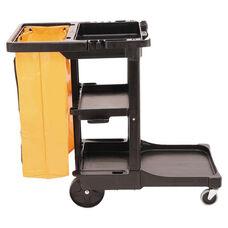 Rubbermaid® Commercial Multi-Shelf Cleaning Cart - Three-Shelf - 20w x 45d x 38-1/4h - Black