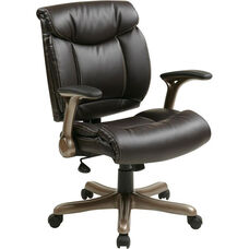 Work Smart Executive Eco Leather Chair with Padded Arms and Cocoa Coated Base - Espresso