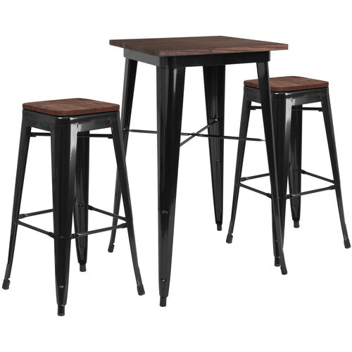 "23.5"" Square Black Metal Bar Table Set with Wood Top and 2 Backless Stools"