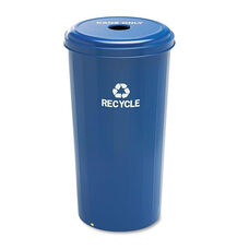 Safco® Tall Recycling Receptacle for Cans - Round - Steel - 20gal - Recycling Blue