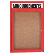 1 Door Indoor Enclosed Bulletin Board with Header and Red Powder Coated Aluminum Frame - 24