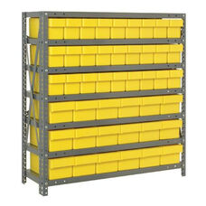 7 Shelf Open Unit with 18 Large Drawers and 27 Small Drawers - Yellow