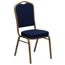 HERCULES Series Crown Back Stacking Banquet Chair in Navy Blue Patterned Fabric - Gold Frame