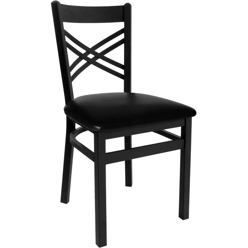 Akrin Metal Cross Back Chair   Black Vinyl Seat