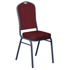 Embroidered Praise Currant Fabric Upholstered Crown Back Banquet Chair - Silver Vein Frame