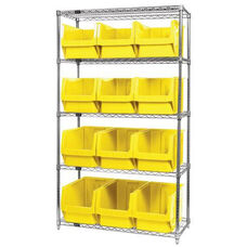Wire Shelving Unit with 12 Magnum Bins - Yellow
