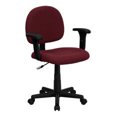 Mid-Back Burgundy Fabric Swivel Task Office Chair with Adjustable Arms