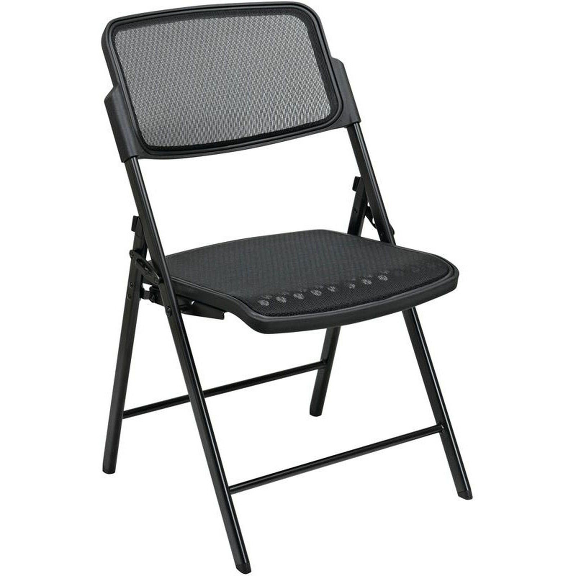 Terrific Pro Line Ii Deluxe Progrid Mesh Seat And Back Folding Chair With 400 Lb Weight Capacity Set Of 2 Black Ocoug Best Dining Table And Chair Ideas Images Ocougorg
