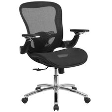 Mid-Back Transparent Black Mesh Executive Swivel Chair with Synchro-Tilt and Height Adjustable Flip-Up Arms