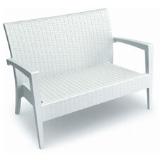 Miami Outdoor Wickerlook Resin Stackable Loveseat with Arms - White