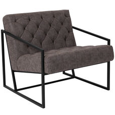 HERCULES Madison Series Retro Gray Leather Tufted Lounge Chair