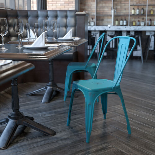 Commercial Grade Distressed Kelly Blue-Teal Metal Indoor-Outdoor Stackable Chair
