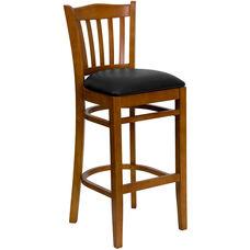 Cherry Finished Vertical Slat Back Wooden Restaurant Barstool with Black Vinyl Seat