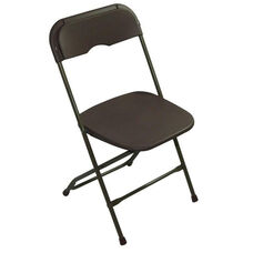 Champ Series Versatile Resin Wedding Folding Chair with Foot Caps - Dark Brown