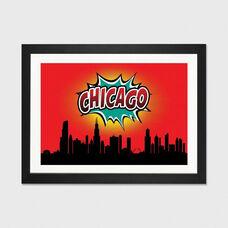 Comic Book Skyline Series: Chicago by Octavian Mielu Artwork on Fine Art Paper with Black Matte Hardwood Frame - 32