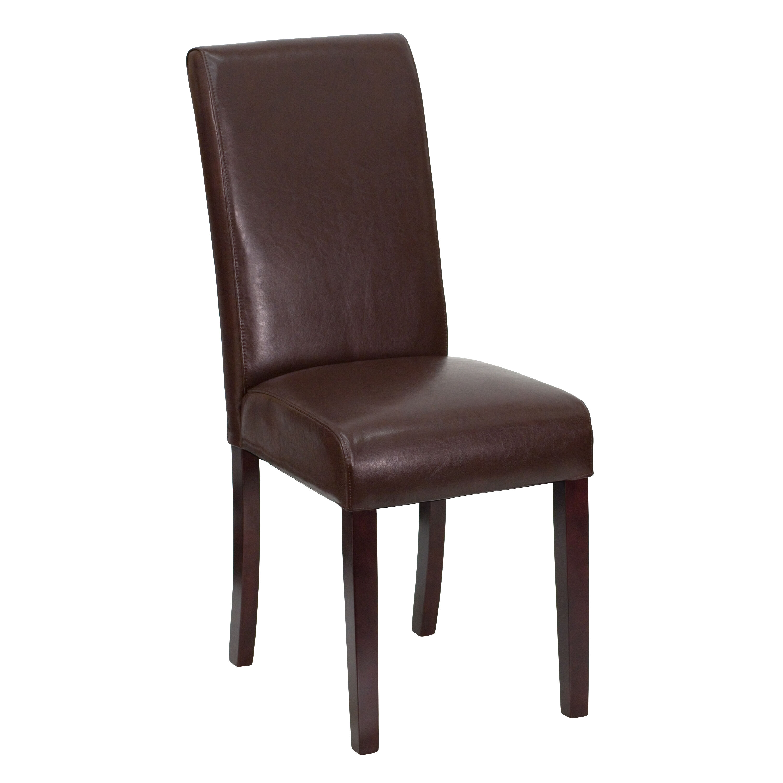 Dark Brown Leather Parsons Chair