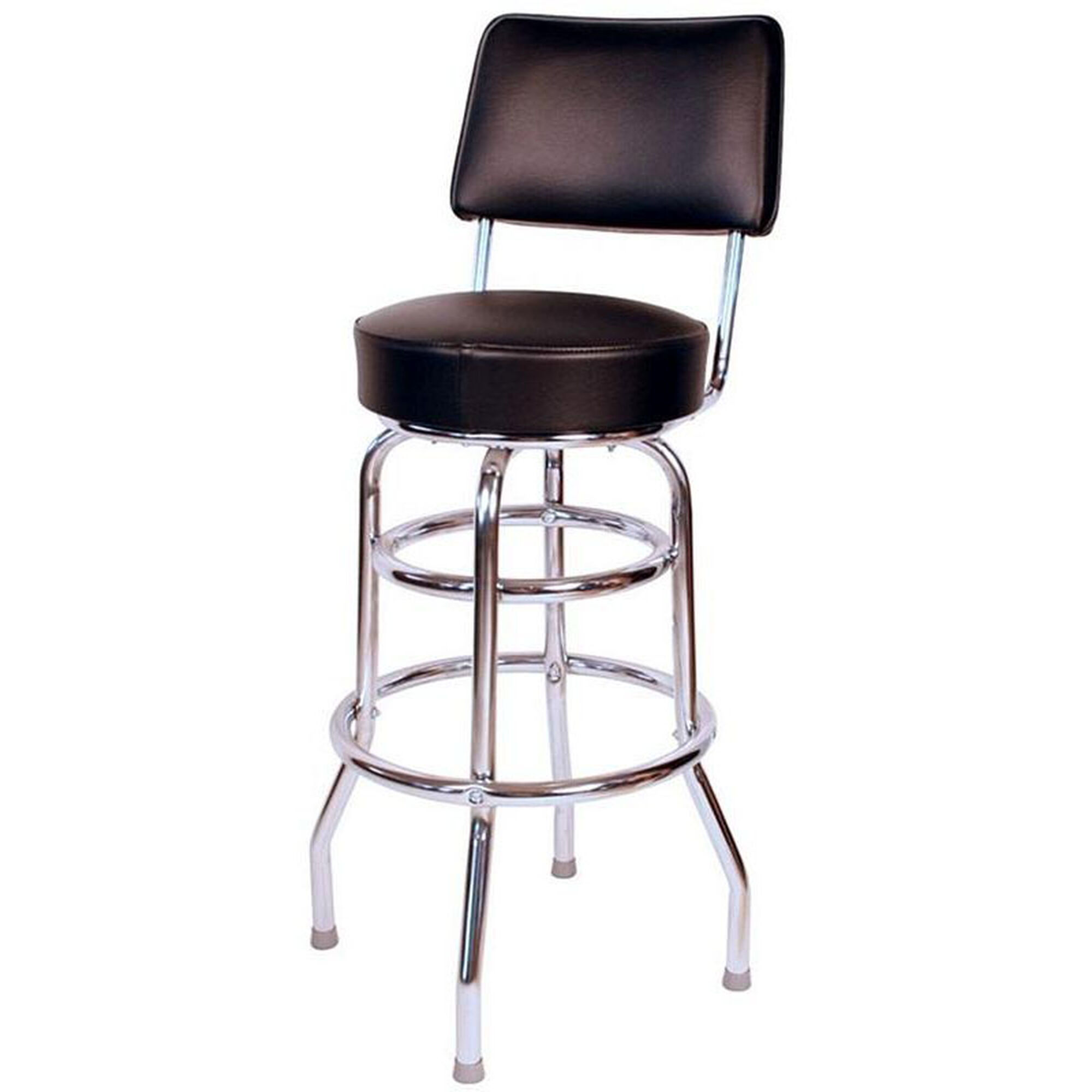 Pleasant Retro Style Double Ring Chrome Frame 30 Swivel Bar Stool With Backrest And Padded Seat Black Vinyl Uwap Interior Chair Design Uwaporg