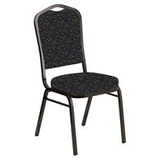 Embroidered Crown Back Banquet Chair in Empire Tartan Sky Fabric - Gold Vein Frame