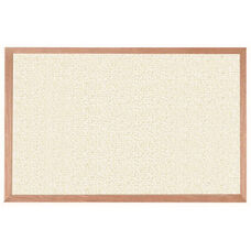 Burlap Weave Vinyl Bulletin Board with Red Oak Frame and Clear Lacquer Finish - White Rice - 24