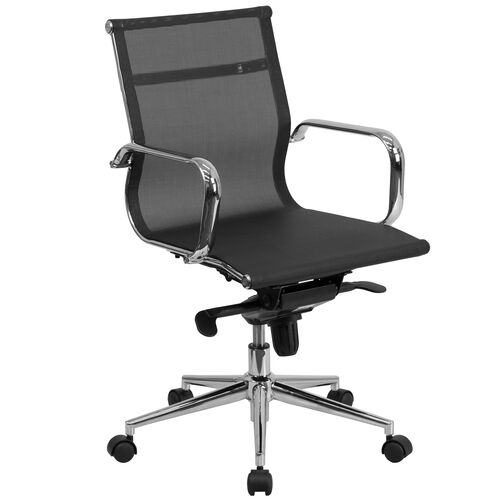 Our Mid-Back Transparent Black Mesh Executive Swivel Office Chair with Synchro-Tilt Mechanism and Arms is on sale now.