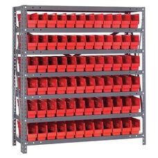 12''D 7 Shelf Unit with 72 Bins - Red