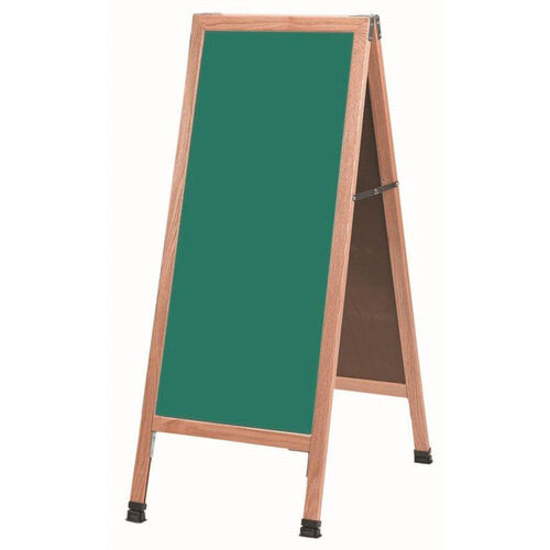 Our A-Frame Sidewalk Green Composition Chalkboard with Solid Red Oak Frame - 42