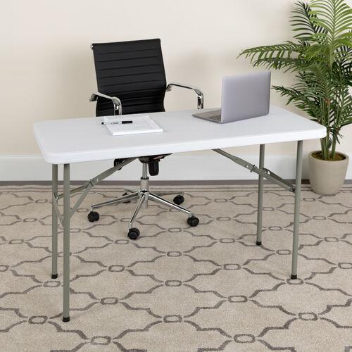4-Foot Granite White Plastic Folding Table