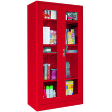 Elite Series 36'' W x 18'' D x 72'' H Radius Edge Clear View Storage Cabinet - Red