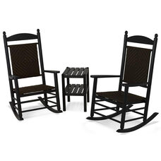 POLYWOOD® Jefferson 3-Piece Woven Rocker Set - Black Frame / Cahaba
