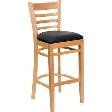 Natural Wood Finished Ladder Back Wooden Restaurant Barstool with Black Vinyl Seat