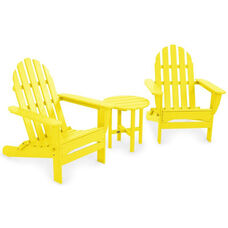 POLYWOOD® Classic Folding Adirondack 3-Piece Set - Vibrant Lemon