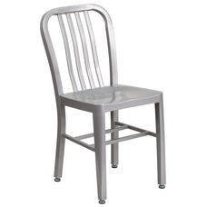 Commercial Grade Silver Metal Indoor-Outdoor Chair