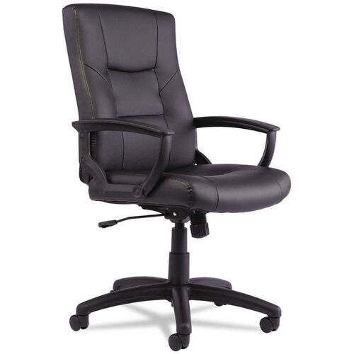 Alera® YR Series High-Back Leather Executive Swivel and Tilt Chair - Black