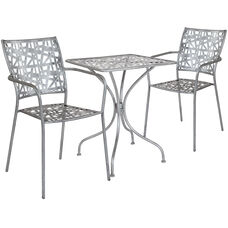"""Agostina Series 23.5"""" Square Antique Silver Indoor-Outdoor Steel Patio Table with 2 Stack Chairs"""