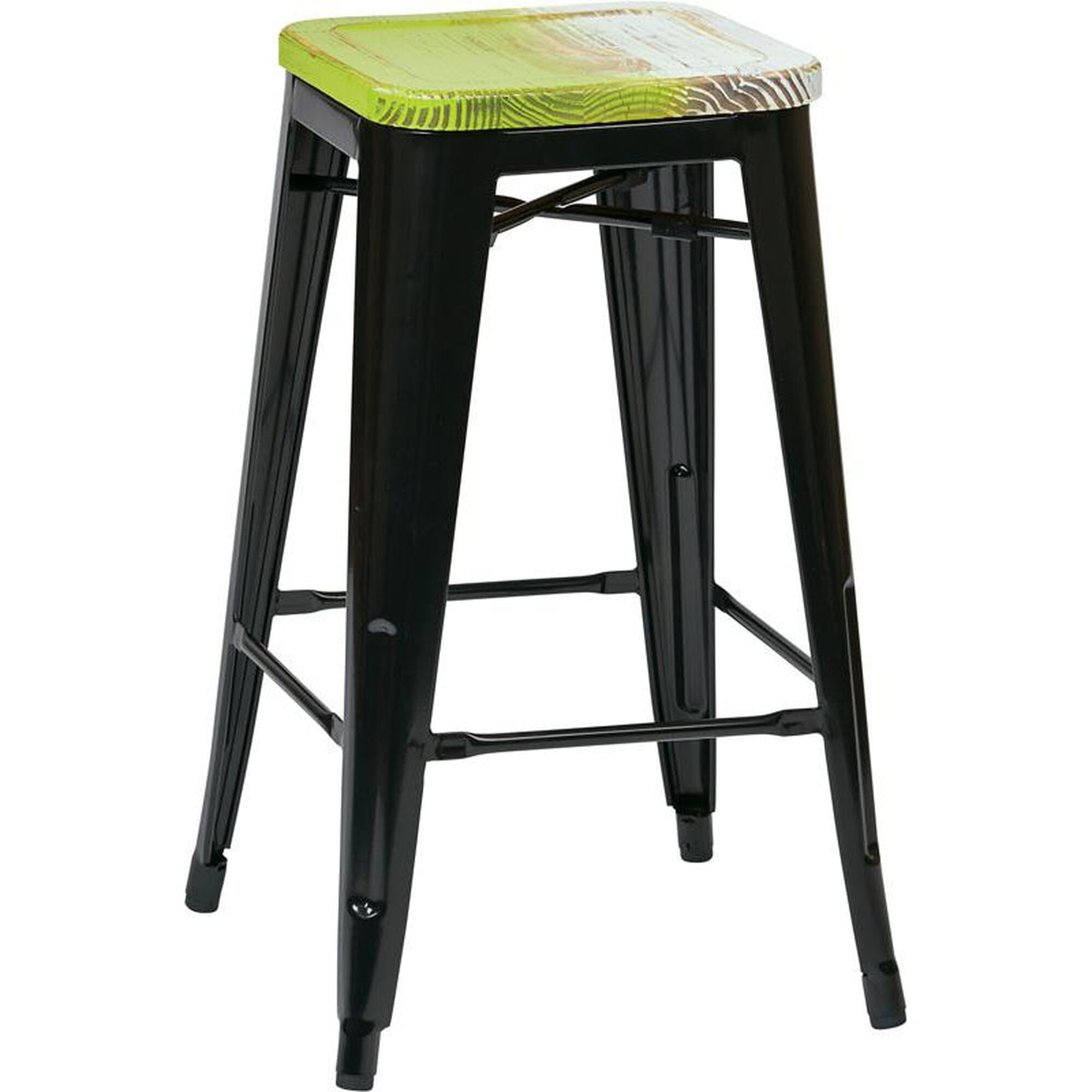 Set Of 4 Black Metal Barstool Brw31263a4 C307