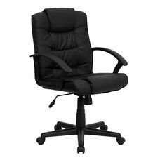 Mid-Back Black Leather Swivel Task Office Chair with Arms