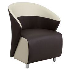 Dark Brown LeatherSoft Curved Barrel Back Lounge Chair with Beige Detailing