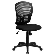 Mid-Back Designer Back Swivel Task Office Chair with Fabric Seat