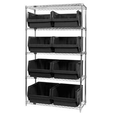 Wire Shelving Unit with 8 Magnum Bins - Black