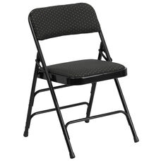 HERCULES Series Curved Triple Braced & Double Hinged Black Patterned Fabric Metal Folding Chair